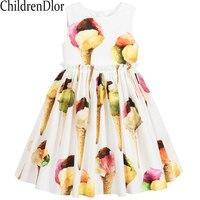 Bata Enfant Fille Princesa Vestir Ropa de Las Muchachas 2017 Muchachas de la Marca Vestido de Verano de Impresión Helado Niños Disfraces Vestidos de Niño