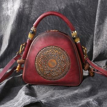 New Brand Luxury Women Genuine Leather Handbags Ladies Retro Elegant Shoulder Messenger Bag Cow Leather Handmade Womans Bags leather