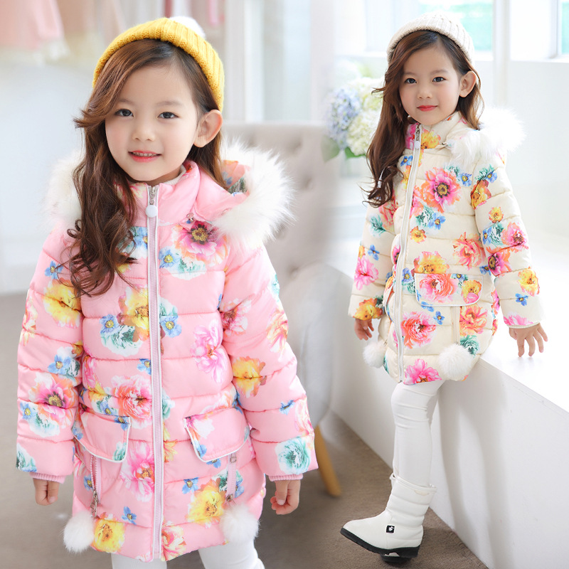 Children Outerwear Winter Girls Down Jackets Hooded Coats Thick Warm Baby Girls Clothing Printing Flowers 4-10 Years Kids Jacket new winter children jacket girls down coat flower pattern hooded kids down jackets baby outerwear thick warm coats page 1 page 5