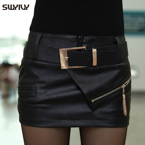 2017 New Arrived Skirt Spring Autumn And Winter Leather PU Short Skirt Plus Size XXL in Shorts from Women 39 s Clothing