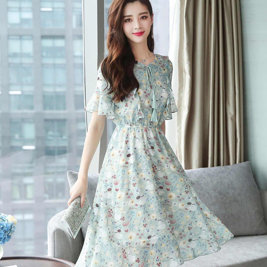Плюс размер летнее Новое винтажное цветочное шифоновое платье миди 2019 корейское женское элегантное бохо платье вечерние с коротким рукавом Облегающее Vestidos