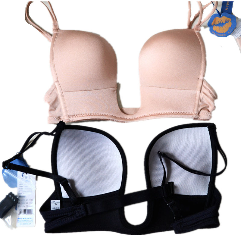 2017 New Women Sexy Push Up Bra Underwear Intimate Tops Low Cut Bralettle Ultra Deep U Plunge V Brassiere Cleavage Crop top Bras