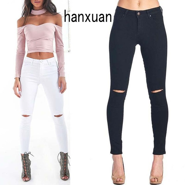 2016 Europe and American Knee Hole Slim Pencil Pants Women  High Waist Skinny Cotton Pants Stretch SLIM STRAIGHT waisted jeans
