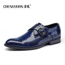 Men leather casual flats shoes mens flat bukcle British gentleman dress black blue business casual shoes dress wedding shoes