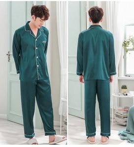 Image 4 - BZEL çift pijama seti ipek saten pijama uzun kollu pijama onun ve onun ev takım elbise pijama sevgilisi için erkek kadın severler giyim