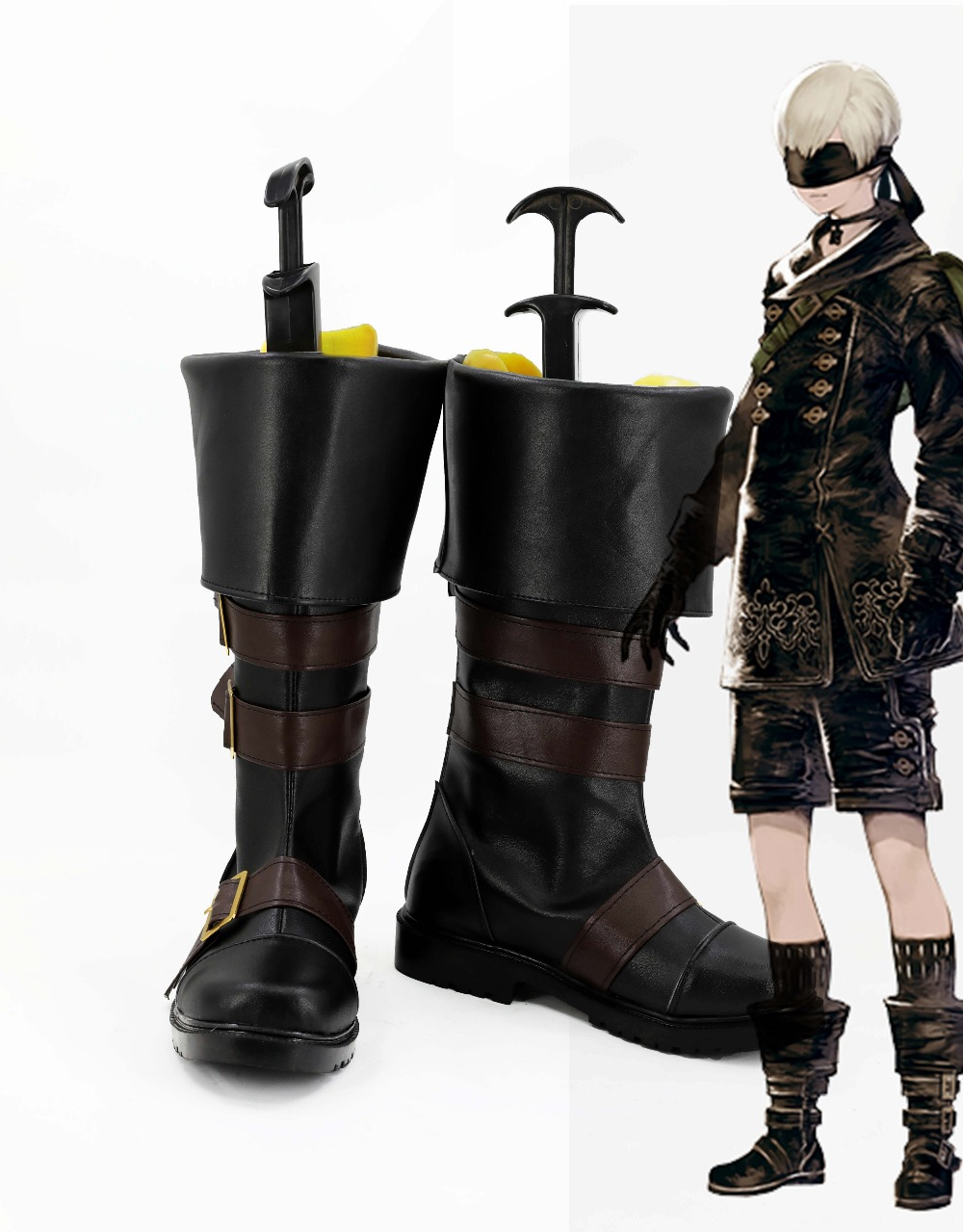 New NieR:Automata Cosplay YoRHa No. 9 Type S Shoes Black Shoes Boots For Adult Costume Custom Made