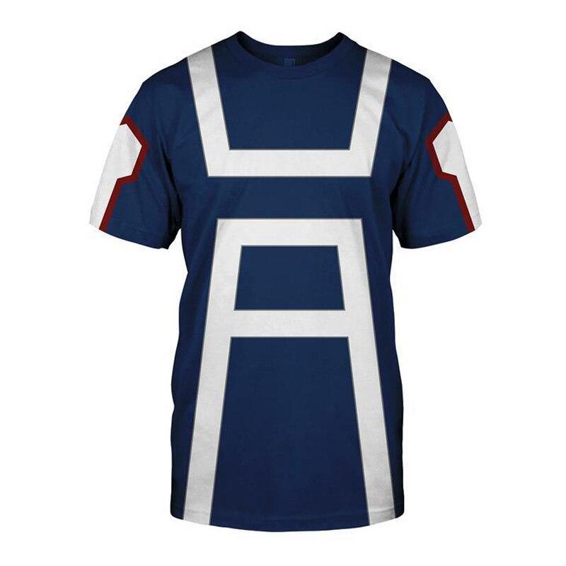 Meu herói academia camisetas de verão masculinas midoriya izuku impressão 3d escola faculdade estilo boku nenhum herói academia azul t camisa topos