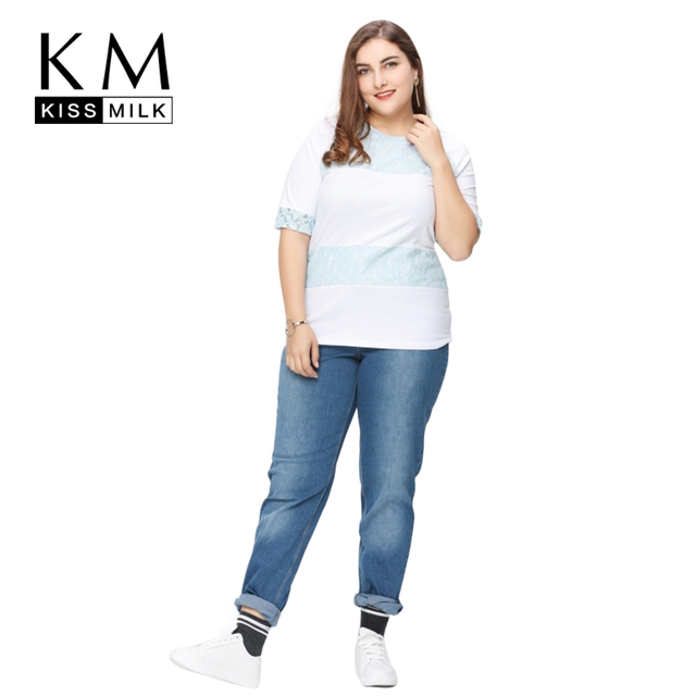 22d84971a5740 Kissmilk Plus Size Women New Fashion Big Large Size 1 2 Length Sleeve Lace  Casual Contrast Slim T-shirt 3XL 4XL 5XL 6XL