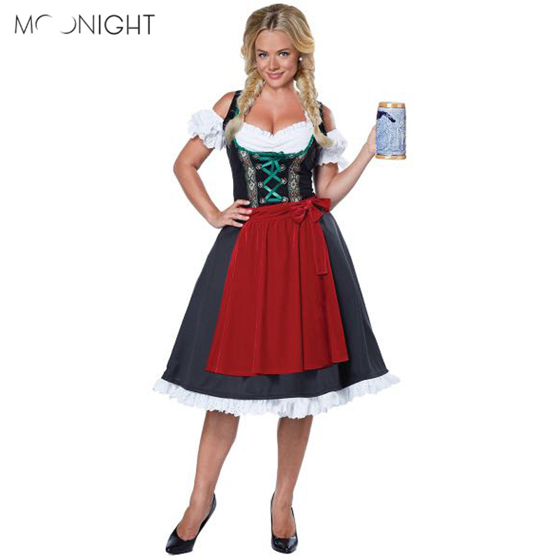 MOONIGHT New Fashion Oktoberfest Costume German Bavarian Fancy Dress Up Dirndl Beer Girl Maid Costume