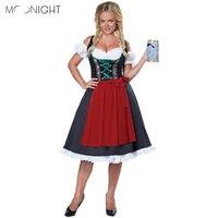 MOONIGHT New Fashion Oktoberfest Costume German Bavarian Fancy Dress Up Dirndl Beer Girl Maid Costume