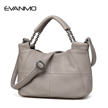 EVANMO Best Special Offer  Bucket Quality Genuine Leather Women Handbags Brand Tote Bag Plaid Top-handle Famous Designer Totes