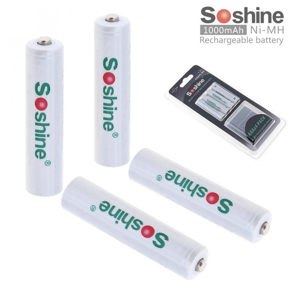 Soshine 4pcs Ni-MH 1.2V <font><b>AAA</b></font> <font><b>1000mAh</b></font> <font><b>Rechargeable</b></font> Batteries with Low Self-discharge + Portable Battery Box for Alarm image