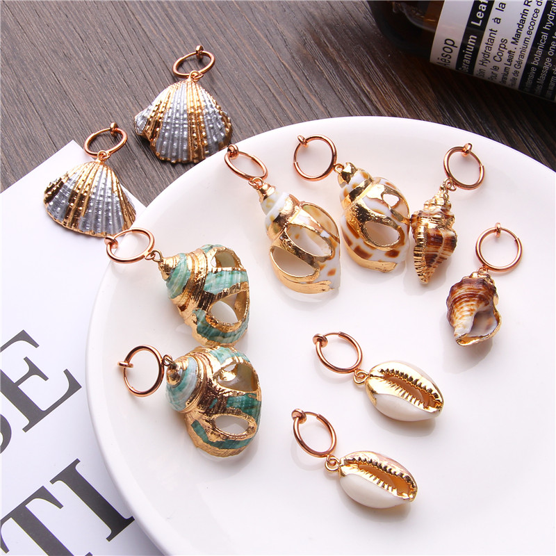 2019 Boho Cowrie Shell Earrings For Women Earring Hanging Statement Drop Dangle Earrings Sea Shell Summer Beach Jewelry Bohemian