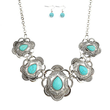 2017 Vintage Synthetic stone Jewelry Sets Dangle Earrings and Statement Choker Necklaces For Women Girls
