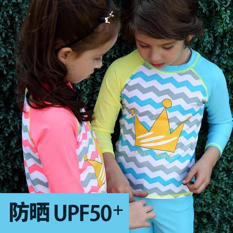 874f8b51ff1 ... Girls & Boys Swimsuit UPF 50+ UV Rash Guard Set Long Sleeve Swimwear  with Cap