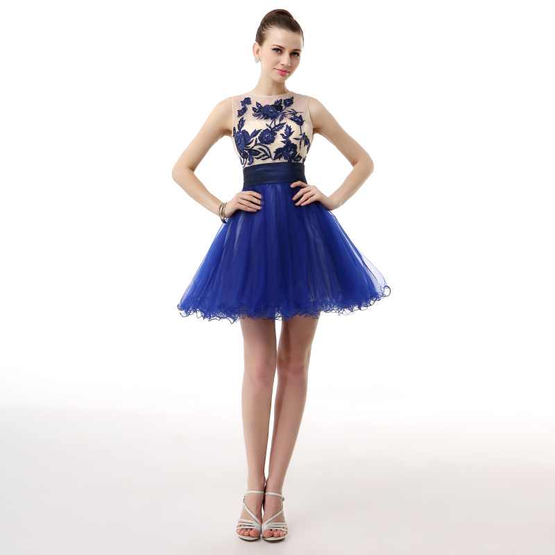 Real Model Jewel Neck Royal Blue Lace Appliques Short Cocktail Party Gowns Mini Tutu Girls Dresses