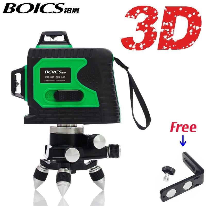 BOICS 12 Lines 3D /8 lines 2D Laser Level Self-Leveling 360 Rotary Cross Line laser tape measure floor leveler nivel
