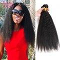 8А Перуанской Afro Kinky Человеческих Волос 100% Девственные Волосы Вода волна 3 Пучки Kinky Прямая Дешевые Реми Переплетения Человеческих Волос расширения