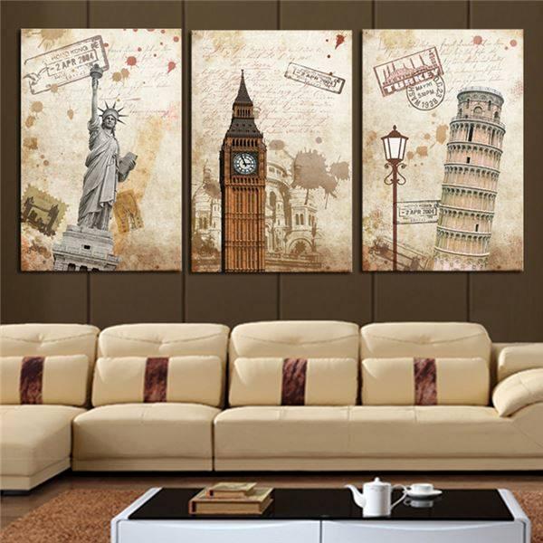 3 шт. (без рамки) настенное искусство современный городской пейзаж Hd картина домашнее украшение Гостиная холст печать Картина на холсте