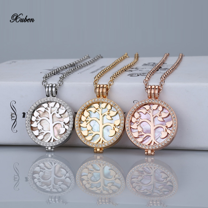 life tree 35mm coin holder necklace pendant fit my 33mm coins 2017 shell interchangeable crystal woman