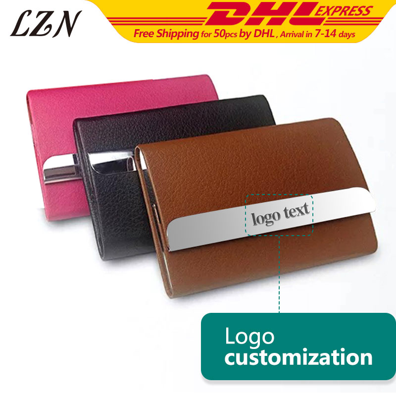 LZN 50pcs A Lot Colourful LE Stainless Steel Business Name ID Credit Card Holder Case Box Free Laser Engraved Logo/Name/Text