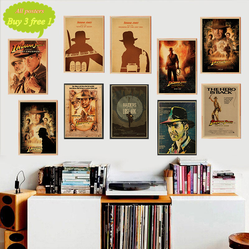Raiders of the Lost Ark Adventure Treasure Hunt Movie Poster wall sticker Kraft Poster Decorative paintings Retro Poster image
