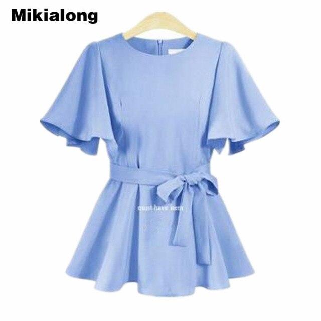 679edf246463 Mikialong Retro Office Shirt Women Blouses 2018 Loose Plus Size 5XL  Butterfly Sleeve Ruffle Blouse Summer Peplum Tops with Belt