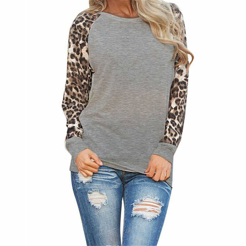 d5f797139a7 ... Large Size Leopard Printing Woman Blouses 2019 Spring Long Sleeves  Spliced Shirts Sexy Female Loose Tops ...
