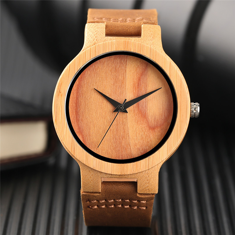 Natural Green/Brown Dial Wooden Watch Men Women Simple Bamboo Wood Quartz Wristwatch Genuine Leather Gifts Clock Reloj de madera simple casual wooden watch natural bamboo handmade wristwatch genuine leather band strap quartz watch men women gift