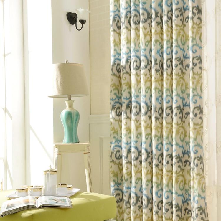 Rideaux minimalistes modernes Polyester-coton impression tissu chambre salon balcon étude Denim tissu