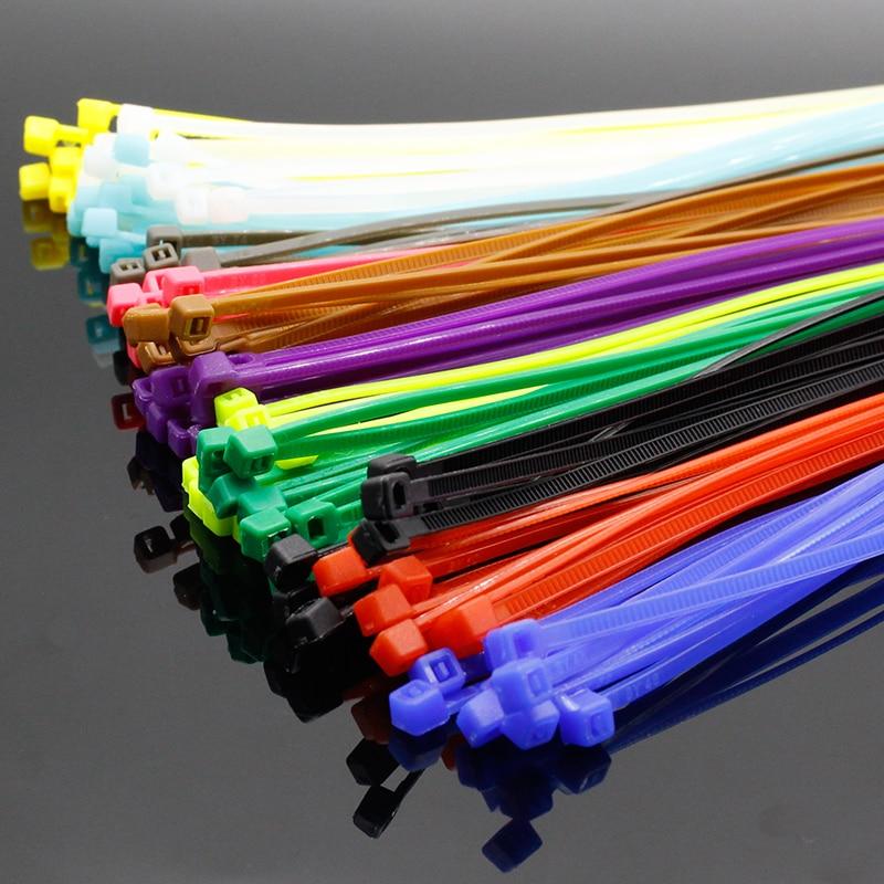 Разноцветные Заводские стандартные самоблокирующиеся пластиковые нейлоновые кабельные стяжки, стяжка-молния для проводов, 100 шт./упак. 4*200 ...