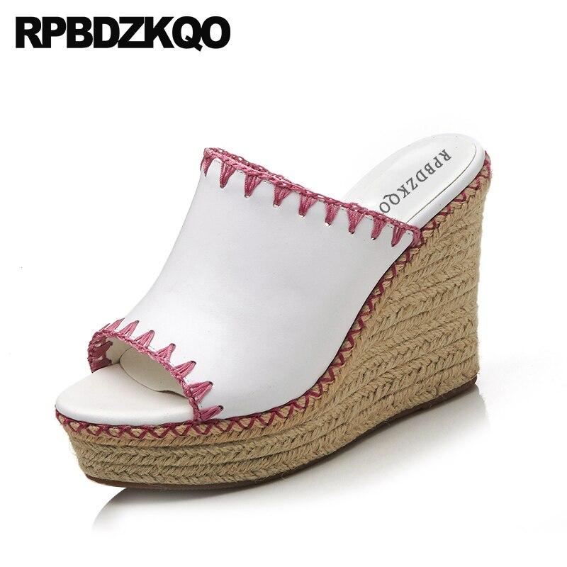 Здесь продается  Pink Rope Slip On Women Wedge Platform Sandals Slides High Heels Peep Toe White Genuine Leather Espadrilles Summer Shoes Pumps  Обувь