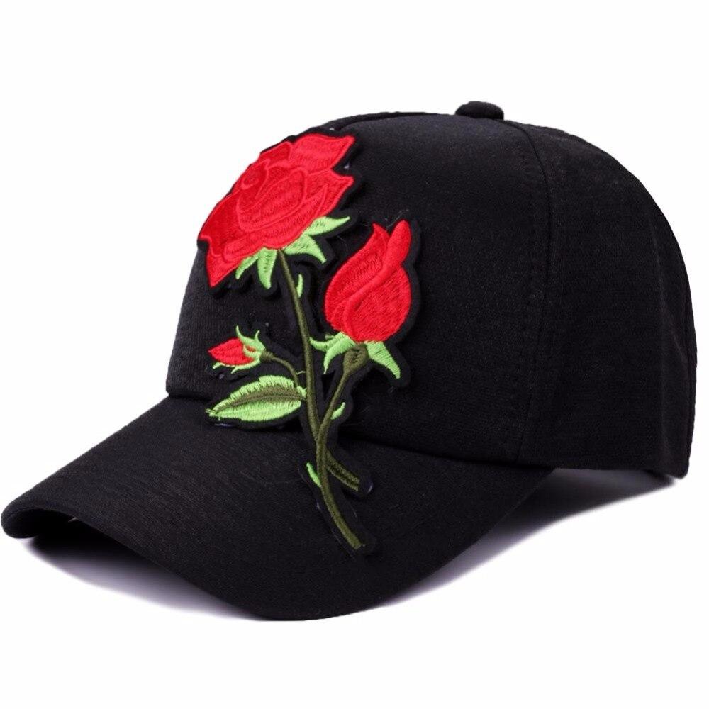 Rose Embroidery Summer Baseball Cap Women Casual Travel Snapback Hat Caps For Girls Black Adjustable Floral Vintage Hat For Men