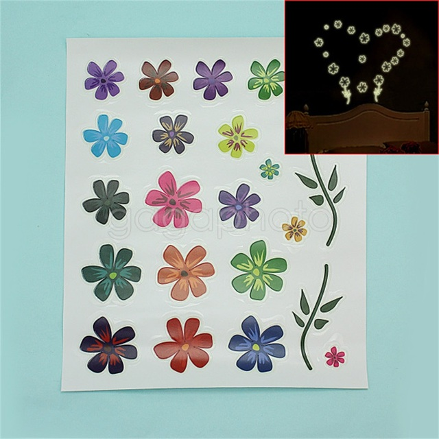 luminous glow in the dark sticker cartoon flower bedroom wall decal
