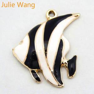 Аксессуары для подвесок Julia Wang, 8 шт., сплав, эмалированный, черный, белый, тропические рыбы, украшения, ручная работа, браслет, изготовление се...