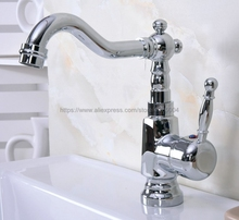 цена на Deck mounted Polished Chrome finish bathroom Faucet basin mixer tap Hot and cold water tap Nnf924
