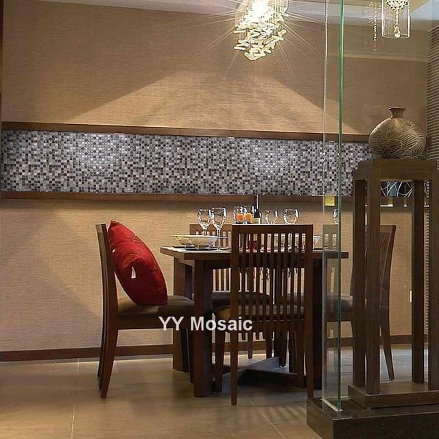 Online Shop Vintage Resin Brwon White Glass Mosaic Tile,Kitchen/TV ...