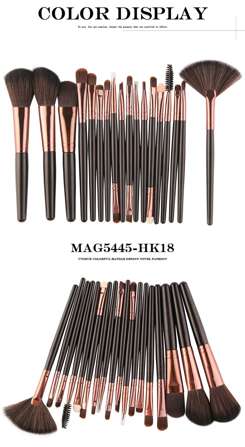 18Pcs/lot Brand Brushes Makeup Brush Set maquiagem Cosmetics Power Foundation Blush Eye Shadow Blending Fan Make Up Kits Beauty 12