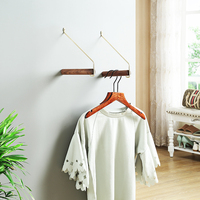 Nordic hanging clothes rack solid wood hanging clothes hook wall decoration brass personality storage hanging wall clothes rack