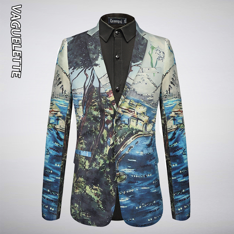 VAGUELETTE Elegant Mens Printed Blazer Slim Fit Casual Stage Clothes For Singers Luxury Velvet Stylish Wear For Men 2019