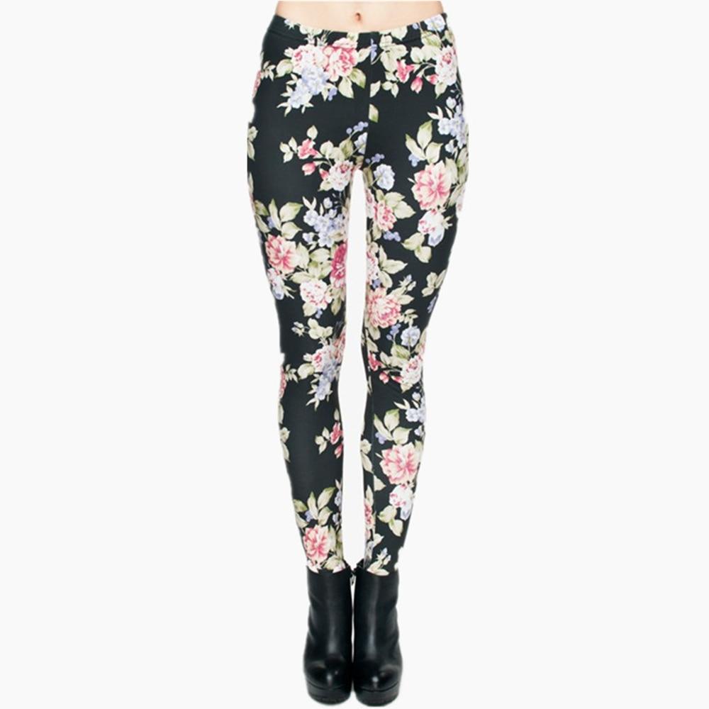 Hot Women Clothing Full Length 3D Graphic Full Print Fresh Flowers Leggings Sexy Fitness Punk Leggings Pants Workout