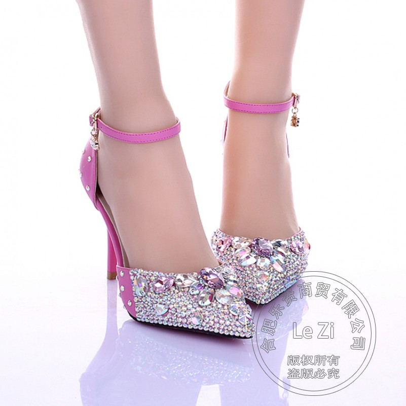 ФОТО Side Hollow Rhinestone Shoes Tie Up Sandals Printing Leather Ankle Wrap Cusp Adult Ceremony Decoration Wedding Dress Hot Selling