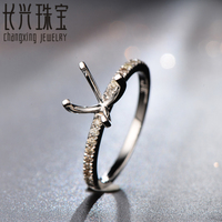 Hot Sale 8mm Round Cut Halo Diamonds 14K White Gold Engagement Semi Mount Ring Settings