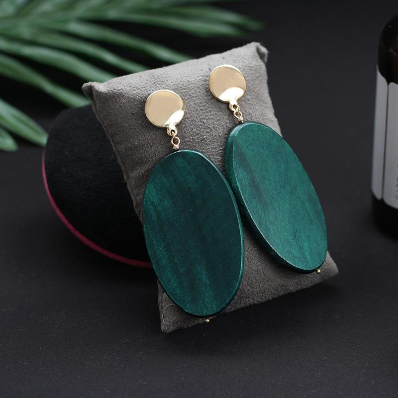 SHUANGR Fashion Vintage Oval Malachite Green Dangle Earrings For Women Geometric Natural Wood Statement Earrings Jewelrly Gift