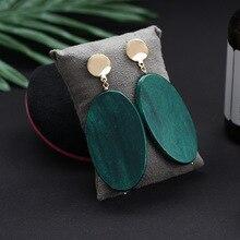 SHUANGR Fashion Vintage Jewelrly Oval Malachite Green Dangle Earrings For women Party gift long earrings