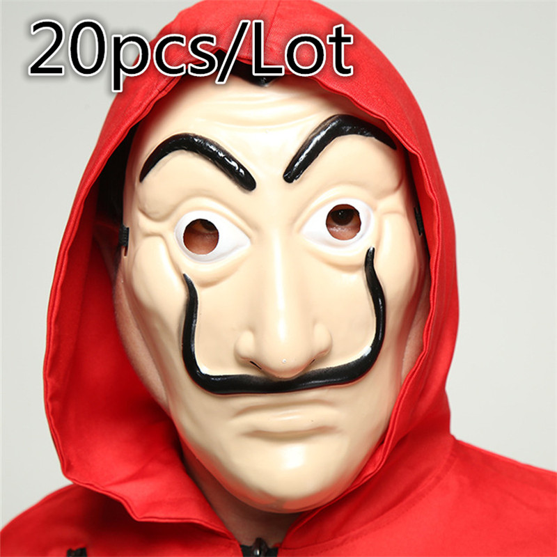 20 Pcs/Set Salvador Dali Face Mask Movie Money The House of Paper La Casa De Papel Cosplay Halloween Party Mask