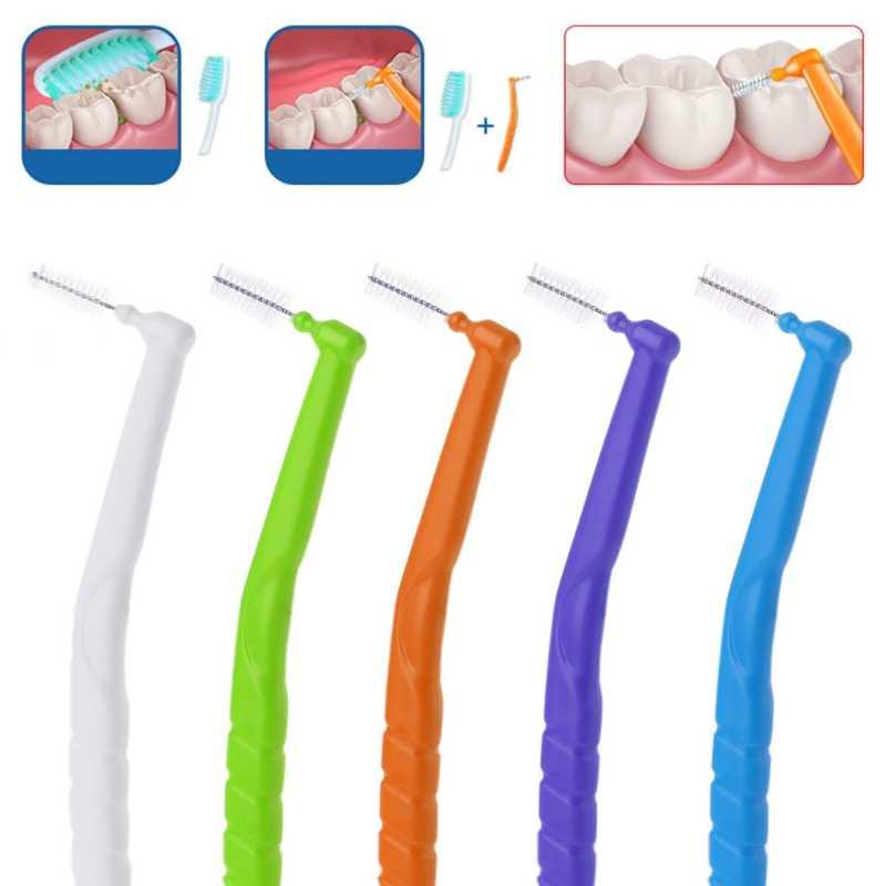 10 sztuk profesjonalne szczoteczka międzyzębowa Micro rozmiar 0.7-1.2mm szczoteczka międzyzębowa w kształcie litery L Oral Dental Care nici