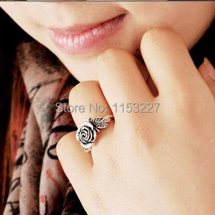 2016 Hot ! new Vintage style carved rose shaped small antique silver ring sell by lot (support mixed color)