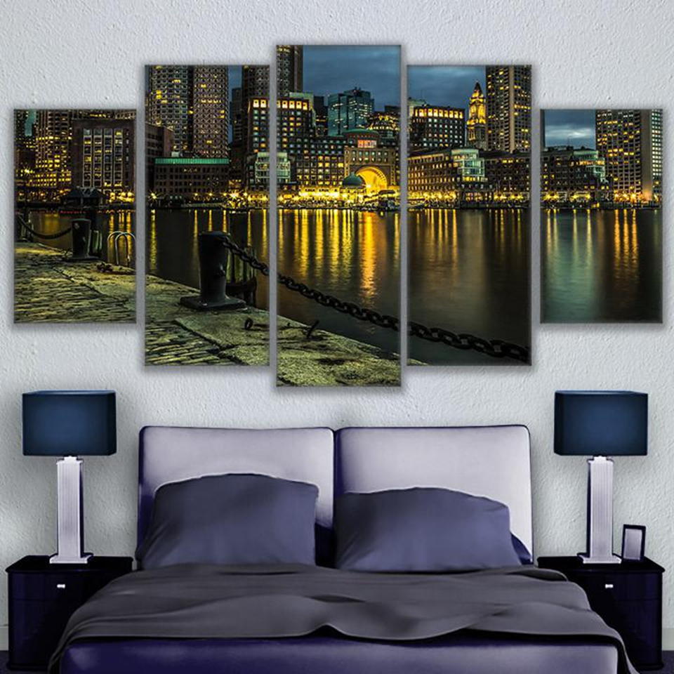 Wall Art Canvas Print Painting 5 Piece Poster City Reflective Waterfront Nightscape Poster Home Decor Bedroom Picture Artwork image