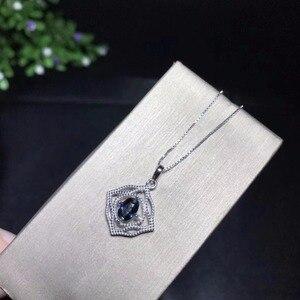 Image 2 - Collana zaffiro naturale, semplice e squisito, un carato anello di zaffiro, 925 in argento sterling, inviare catena